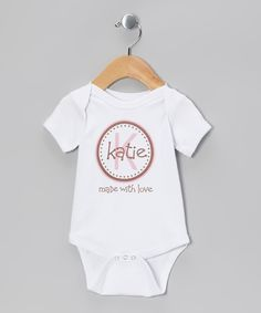 Another great find on #zulily! Initial Request White & Pink 'Made With Love' Personalized Bodysuit - Infant by Initial Request #zulilyfinds
