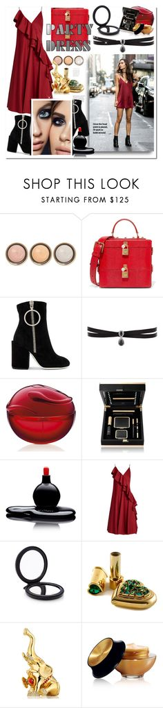 """""""Sexy Red Dress"""" by bellamonica ❤ liked on Polyvore featuring By Terry, Dolce&Gabbana, Off-White, Fallon, Estée Lauder, Agonist, Anna October, Cedes and Yves Saint Laurent"""