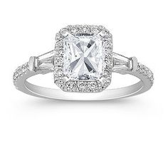Halo Baguette and Round Diamond Engagement Ring...Shane Co.