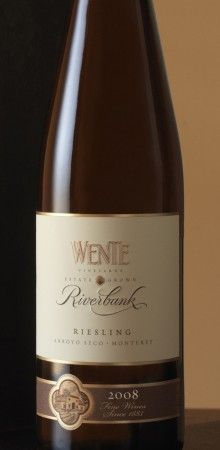 2008 Riverbank Riesling - Wente Vineyards:  California Wine (White Riesling and Gewurztraminer). We had this one with dinner tonight. Light, flavorful white.