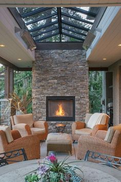 outdoor living room furniture, outdoor living room with fireplace , outdoor living room design , outdoor living room cost , outdoor living room and kitchen Outdoor Living Rooms, Outdoor Kitchens, Outdoor Living Spaces, Living Area, Cozy House, Living Room Designs, House Plans, New Homes, Outdoor Decor