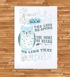 Wise Old Owl Letterpress Art Print by Jilly Jack Designs on Scoutmob Shoppe