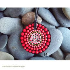 Hand Painted Wood Pendant Fire design Aboriginal Dot Painted