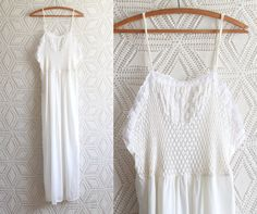 70s long Slip / Lingerie / Lace / Embroidery / by Liyasvintage, $22.00