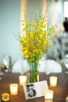 Canary Yellow Oncidium Orchid Centerpiece @Colleen Walters