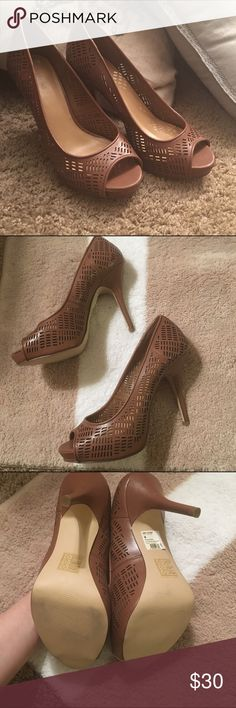 "Cognac colored peep toes Adorable peep toes by Call It Spring. The heel height is just over 4.5."" These are barely worn, nearly brand new condition. Size 9. Staple piece that goes with everything! Call It Spring Shoes Heels"