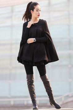 Black Cape Wool Cape Cloak Shawl Wool coat breasted button coat winter coat cloak Cape Spring Jacket-CF118 on Etsy, £95.69