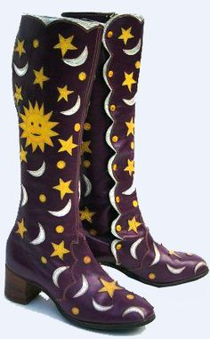 "Back in the day I would have loved to have met a ""hippie chick"" wearing these Stars, Moons and Suns Boots. Came from the legendary Granny Takes A Trip boutique in London.  Museum pieces now."