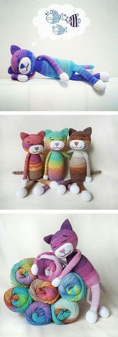 Large ami cats - free pattern | Make your amis with variegated yarn for a sweet look!