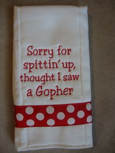 Next friend with a Badger baby gets this! Wisconsin Burp Cloth by CoughlinCrafts on Etsy, $12.00