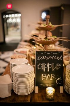 The caramel apple bar at a fall wedding at Willowdale Estate- New England's favorite historic venue in Topsfield, Massachusetts willowdaleestate.com