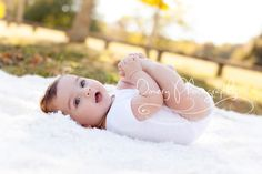 six month portrait, outdoor baby portraits, baby grabbing toes © Dimery…