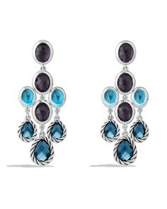 Color Classic Chandelier Earrings with Hampton Blue Topaz, Black Orchid and Gray Sapphires  by David Yurman at Neiman Marcus.