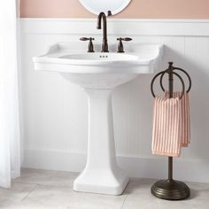 $269 Cierra Large Porcelain Pedestal Sink (not set on the style, but to visually capture this as alternative to Vanity cabinet.)