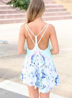 Blue Day Dress - Blue Floral Sleeveless Mini Dress   UsTrendy