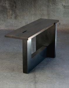 Notched Console — Gulassa & Co. Hallway Furniture, Concrete Furniture, Concrete Table, Concrete Wood, Metal Furniture, Wood Table, Furniture Design, Furniture Ideas, Steel Table Legs