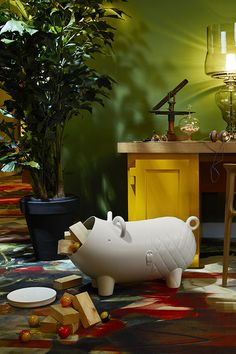 Let your child's imagination get carried away with this mountable storage domestic pig with removable nose. Lovable in every way, this sturdy plastic animal avails itself for rides as children hold onto its ears as handles while sitting joyously on its back. This endearing hog is suited to the most fashionable of home environments. When play time comes to a close, the domestic pig's hollow belly reveals an even greater purpose, storing toys until the next game starts.