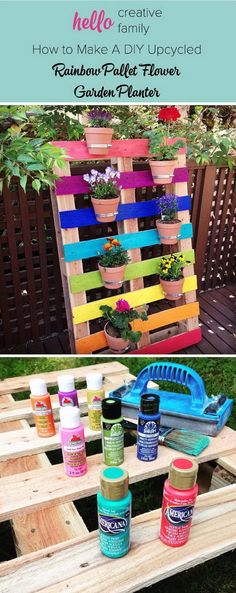 DIY Rainbow Pallet Planter.