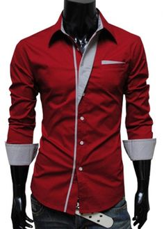Glamorous Red Turndown Collar Long Sleeve Shirts with Button on sale only US$11.00 now, buy cheap Glamorous Red Turndown Collar Long Sleeve Shirts with Button at martofchina.com