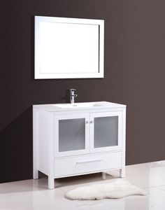 "Brezza 40"" Satin White, Frosted Glass Bathroom Vanity - The Bathroom Vanity Store Canada - 40"" - 1"