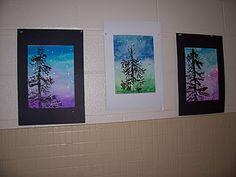winter watercolors + stamped cardboard trees--Beautiful!