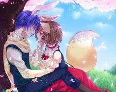 Neko Lover - gown, plant, nice, male, floral, field, vocaloids, hug, couple, lover, pretty, sweet, singer, petals, superstar, tail, anime, female, boy, ears, hot, blue hair, neko, scene, girl, flower, tree, vocaloid, cute, wind, short hair, heart, scenic, usa mimi, sky, cloud, kaito, anime girl, neko mimi, rose, view, couples, lovely, ribbon, breeze, romantic, grass, dress, beautiful, diva, romance, idol, sexy, beauty, windy, bunny, brown hair, usamimi, meiko, love, scenery, nekomimi