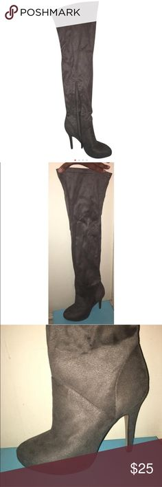 Forever 21 faux suede Over-the-Knee boots Forever 21 faux suede Over-the-Knee boots - 4in Heels/1in Platform - only wore once!! Offers are welcomed!! Forever 21 Shoes Over the Knee Boots