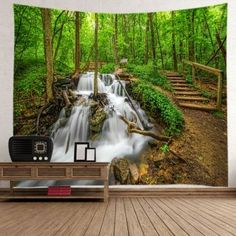 Forest Streams Print Tapestry Wall Hanging - GREEN W91 INCH * L71 INCH