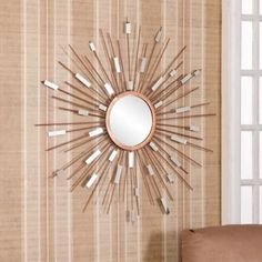 Not Available Mid Century Modern Sunburst Mirrored Wall Sculpture. Decorate Entryways, Kitchens, and Living Rooms with This Gold Finish and Dazzling Metal Strands Mirror Sun Mirror, Metal Mirror, Wall Mounted Mirror, Craft Room Decor, Living Room Decor, Wall Decor, Living Rooms, Dining Decor, Wall Art