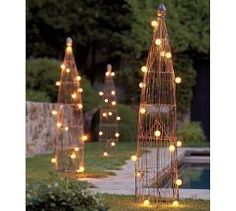 Topiary forms with lights. Holiday decoration idea