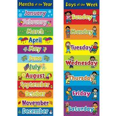 Awesome Days Of The Week/Months Of The Year Banner Set- love this for the #preschool #prek classroom!