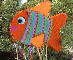 Fish Pinata. Orange Fish Pinata.  Rainbow Fish by AbitaAchie, $48.00