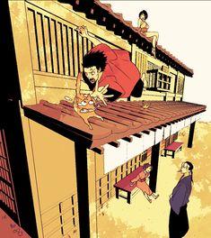 Mugen, Hotaru, Fuu, & Jin (Samurai Champloo) ~ damn cat