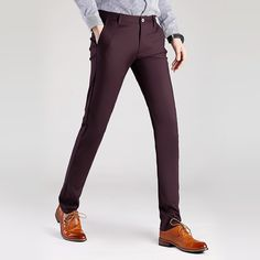 d8450b12137 Men s Spring Summer Elastic Suit pants Casual High Quality Business Pants  Slim Skinny Fit Wedding Blazer Straight Trousers 28 38-in Suit Pants from  Men s ...