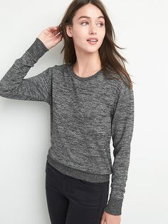Gap Womens Long Sleeve Crop Metallic Sweater Black