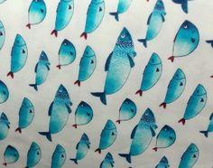 Tkanina ryby turkusowe niebieskie na białym bawełna wysokiej jakości