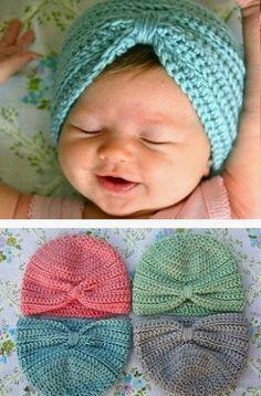 Crochet Baby Turban di This Mama Make Stuff - Pattern uncinetto gratuito - (thismamam . Crochet Baby Turban di This Mama Make Stuff - Pattern uncinetto gratuito - (thismamamakesstuff). Easy Crochet Hat, Bonnet Crochet, Crochet Beanie, Crochet For Kids, Crochet Crafts, Knitted Hats, Knit Crochet, Crochet Turban, Crochet Baby Stuff
