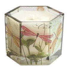 Dragonfly Filled Candle  Pretty!