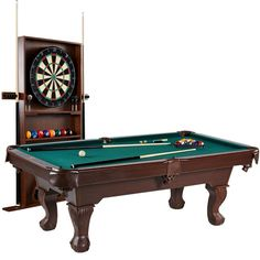 PALLET Barrington Ball and Claw Leg Pool Table with Cue Rack and Dartboard Set, Green Cloth. Includes bonus dartboard set with all of the accessories needed to play. Includes a cue rack for storage and organization. Billiard Pool Table, Outdoor Pool Table, Pool Table Room, Gaming Furniture, Bar Furniture, Billiards Game, Dart Set, Pool Cues