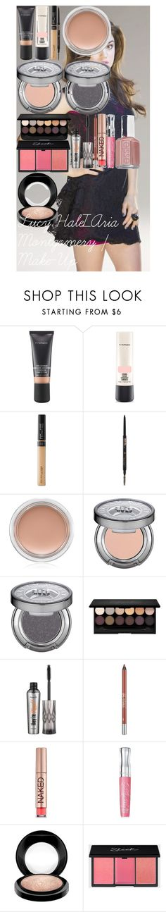 Lucy Hale/Aria Montgomery | Make-Up by oroartyellie on Polyvore featuring beauty, MAC Cosmetics, Rimmel, Benefit, Anastasia Beverly Hills, Urban Decay, Maybelline and Essie