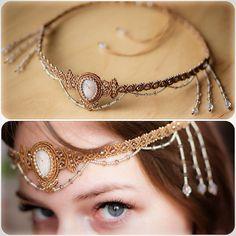 """New diadem with moonstone #macrame #micromacrame #svitoe #handmade #diadem #boho #bohemian #beauty #jewelry #bijoux #princess #natural #stone #white…"""