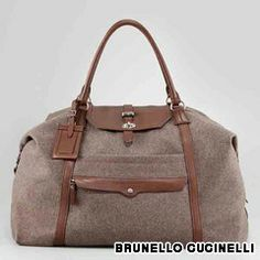 Luxury necessities: Best new travel accessories: Brunello Cucinelli Leather and Flannel Overnight Bag ($2,190)