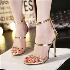 Sandalias Shoespie Metal Color Zipper Stiletto