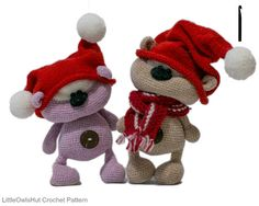 """139 Crochet Pattern Cute Bear Cookie with Knitted hats. ~6"""" tall with #4 (US) hook."""