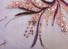 French Lace Gold Embroidered Leaves with Sequin Embroidered Leaves, French Lace, Beadwork, Plum, Sequins, Brooch, Candy, Embroidery, Beads