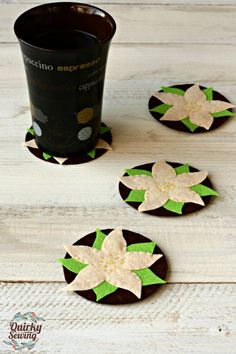 Edelweiss Felt Coasters Edelweiss Decor Climbing by QuirkySewing