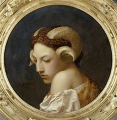 Jean-Leon Gerome, Head of a Woman with the Horns of a Ram Musee des Beaux Arts, Nantes, France Jean Leon, Renaissance Kunst, Classical Art, Art Plastique, Dark Art, Art Inspo, Art History, Fantasy Art, Cool Art