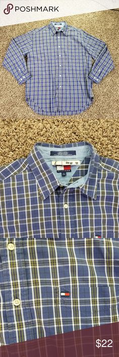 Vintage 90s Tommy Hilfiger Shirt Large Men's Long Vintage 90s Tommy Hilfiger Shirt Large Men's Long Sleeve Button Front Sleeve 25.5 shoulder to shoulder 20  pit to pit 24 Length 27 bat33212 Tommy Hilfiger Shirts Casual Button Down Shirts
