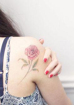 Elegant Rose on Back Shoulder by Mini Lau