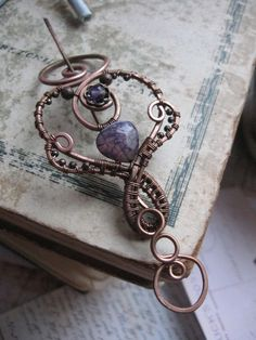 Elegant Shawl Pin - Purple Copper Brooch - Fibula Shawl Pin Sweater Pin Scarf Pin - Laconic Whimsical Arctistic Ornate Chic - Amethyst Agate